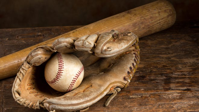 Old baseball bat with ball and weathered glove