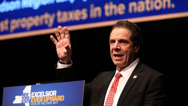 Gov. Andrew Cuomo delivers the State of the State Address in the Mid-Hudson Region on Jan. 10 at SUNY Purchase Performing Arts Center.