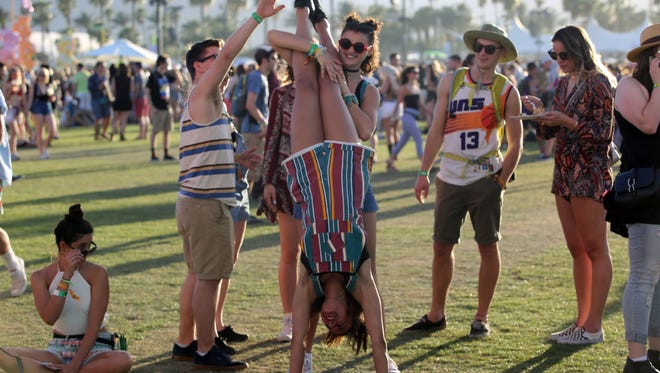 Apr 14, 2017; Indio, CA, USA; Attendees during the Coachella Valley Music and Arts Festival at Empire Polo Club. Mandatory Credit: Richard Lui/The Desert Sun via USA TODAY NETWORK