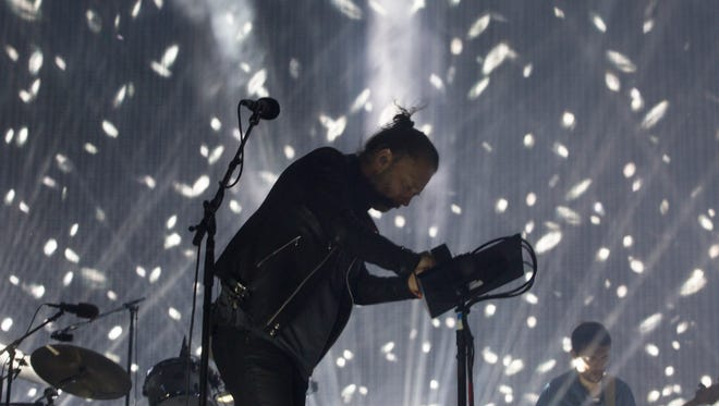 Thom Yorke of Radiohead performs on the Coachella Stage during the first weekend of the 2017 Coachella Valley Music and Arts Festival in Indio, California. Mandatory Credit: Omar Ornelas/The Desert Sun via USA TODAY NETWORK