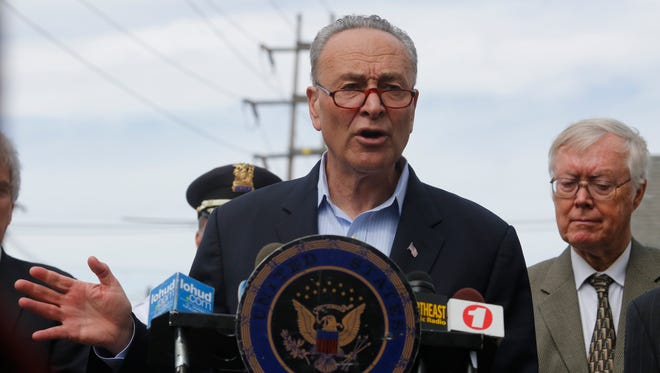 Senator Chuck Schumer and local elected officials held a press conference on Apr. 17, 2017 at the site of a train accident that took place last week involving at tractor trailer car carrier in Haverstaw.