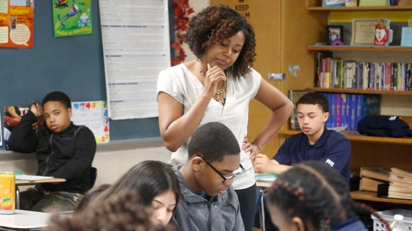 Nashon Anderson, an English teacher at Poughkeepsie High School, leads a class on Apr. 27.