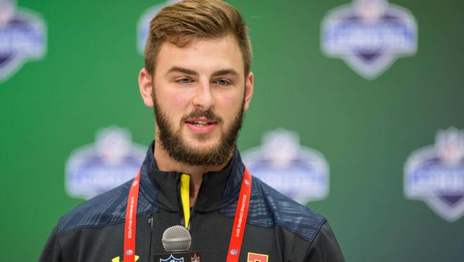 Mar 3, 2017; Indianapolis, IN, USA; Michigan tight end Jake Butt speaks to the media during the 2017 combine at Indiana Convention Center. Mandatory Credit: Trevor Ruszkowski-USA TODAY Sports