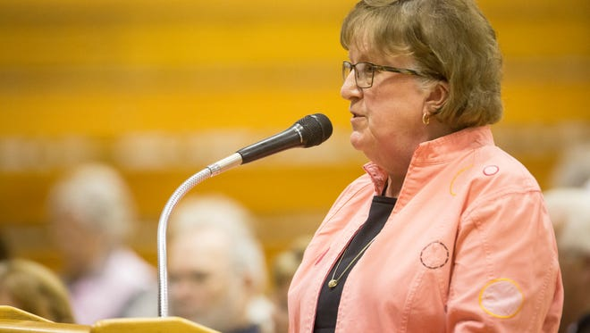 Muncie School Board Member Debbie Feick talks to the Indiana State Distressed Unit Appeals Board May 1 about the State takeover of Muncie Community Schools.