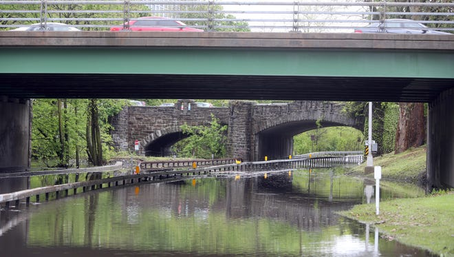 The Bronx River Parkway in White Plains was closed in both directions May 5, 2017 after heavy rains caused both lanes to be flooded.
