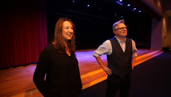 Lisa Katz, chair of the New Castle Arts & Culture Committee and theater manager John Fanelli, who runs Standing Ovation Studio in Armonk, talk about the new Chappaqua PAC located on the former Reader's Digest campus on May 8, 2017.