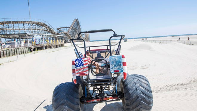 A monster truck hits the beach in Wildwood.
