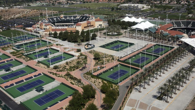 The Indian Wells Tennis Garden is seen from a Big Blue Air helicopter on Wednesday, May 17, 2017.