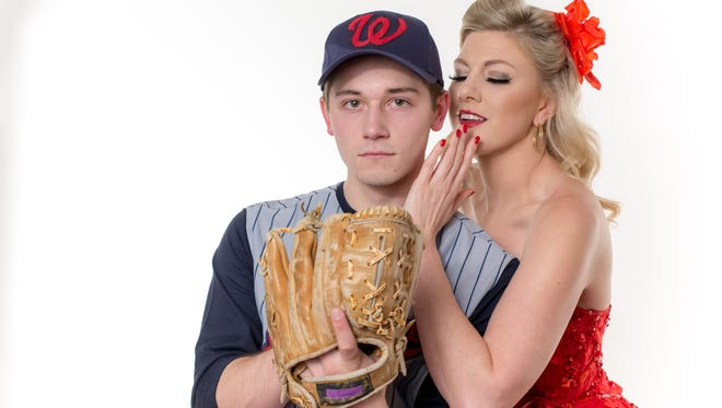 """William Jackson plays Joe Hardy, the superstar who hopes to lead the Washington Senators to a pennant victory in """"Damn Yankees,"""" running May 24-June 18 at the Warsaw Federal Incline Theater. Rachel Perin plays Lola – the devil's assistant – who is determined to stop Joe Hardy from succeeding."""