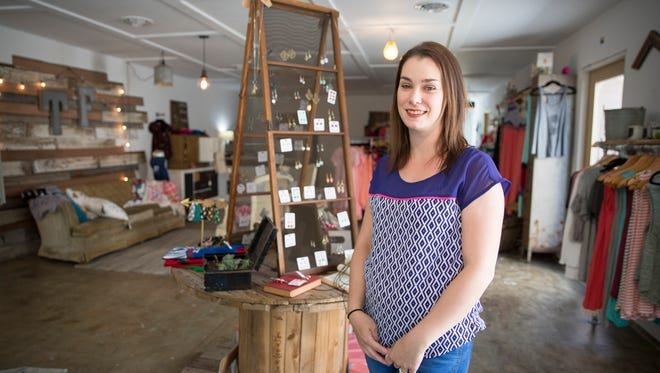 Mollie Johnson stands inside her store Two Friends Boutique on May 19, and is one of several new small businesses in the town. The store is located at 9610 W. Smith St. in downtown Yorktown. The store is located at 9204 W. Smith St in downtown Yorktown.