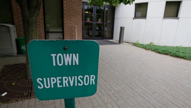Parking signs for the Ramapo Town Supervisor at the Ramapo Town Hall in Airmont on May. 22, 2017.  Christopher St. Lawrence has been convicted in 20 out of 22 counts on corruption charges in federal court last Friday and has since be removed from office.