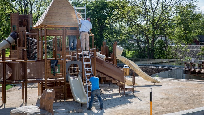 The Daleville Town Hall Park is having final touches done before the grand opening in two weeks. The park features a performance pavilion, two playground sets and a large splash pad.
