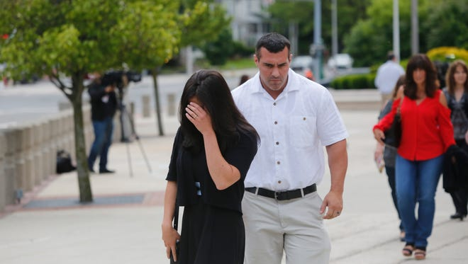 Members of Nicholas Tartaglione's family leave the  White Plains Federal Courthouse after an arraignment for Joseph Biggs and Nicholas Tartaglione in connection to a quadruple homicide on Jun. 7, 2017.