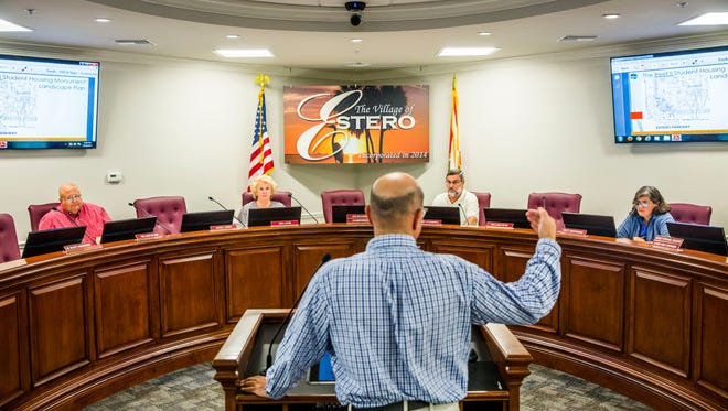 Joe McHarris, chairman of the Estero Design and Review Board and owner of Bonita Springs-based McHarris Planning & Design, speaks to the Estero Design and Review Board during a meeting on Wednesday, July 12, 2017.