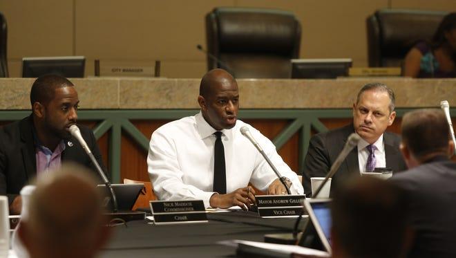 Mayor Andrew Gillum speaks during Wednesday's CRA meeting at City Hall.