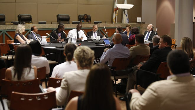 The CRA board met Wednesday at City Hall to consider, among other things, a proposal to phase out the downtown redevelopment district.
