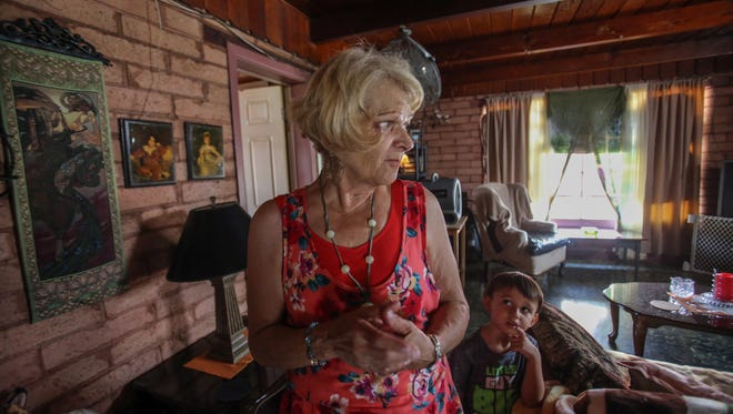 Kami Sawatsky in her home at Tramview Mobile Home Park in Cathedral City with her grandson David diRienzo, 4, on Thursday, July 21, 2017. The owner of the mobile home park wants to raise rent on a dozen home at the park.