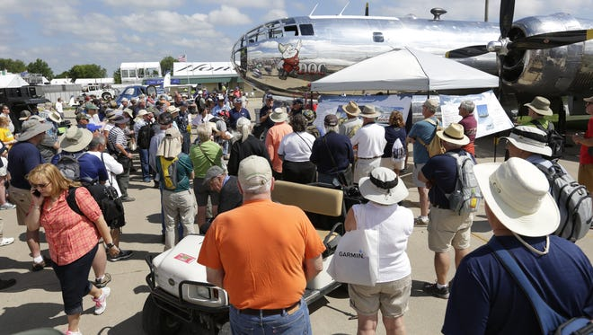 Doc a B-29 was a popular attraction at Boeing Plaza Monday, July 24, 2017, in Oshkosh. AirVenture runs through Sunday, July 30.