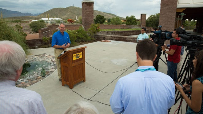 Ryan Zinke, the U.S. secretary of the interior, gives a news conference at the New Mexico Farm and Ranch Heritage Museum, Thursday July 27, 2017. The resignation in January 2018 of 10 out of 12 members of a U.S. Interior Department advisory board in protest of actions by Secretary Ryan Zinke and the policies of President Donald Trump involved two men with deep ties to New Mexico politics.