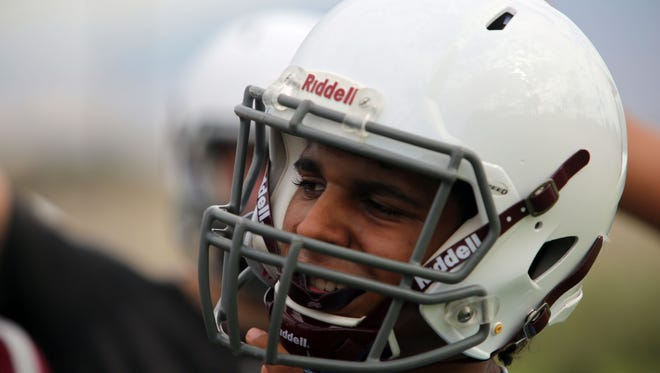 Marques Prior at practice with the Rancho Mirage High School football team on their first day of practice on Monday, July 31, 2017.