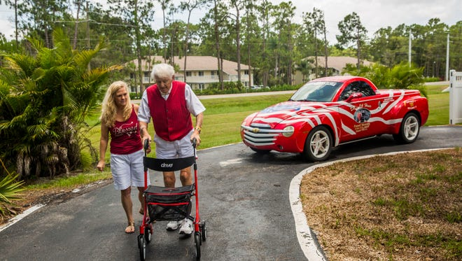 """Del Ackerman, 81, and his wife Theresa outside of their Naples home on Friday, Aug. 4, 2017. Ackerman, owner of Del's 24 Hour Food Store, is retiring after 54 years. """"It is the toughest thing I've ever done in my life,"""" he says."""