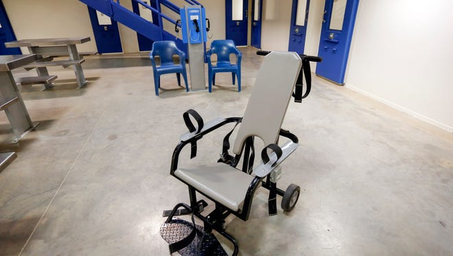 A restraint chair is shown July 31, 2017, at the Polk County Jail in Des Moines, Iowa.