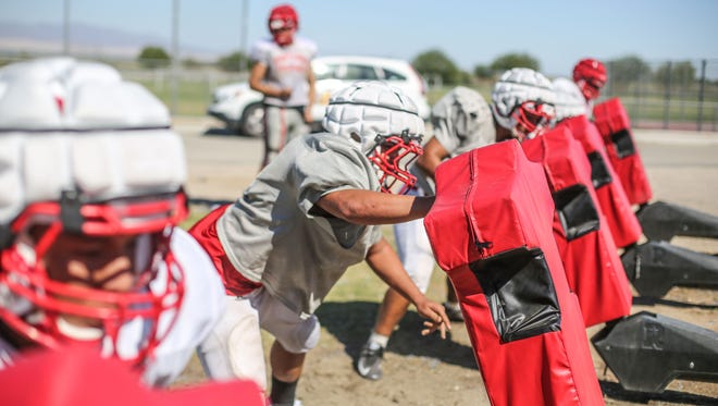 Desert Mirage football team practice on Wednesday, August 16, 2017 in Thermal.