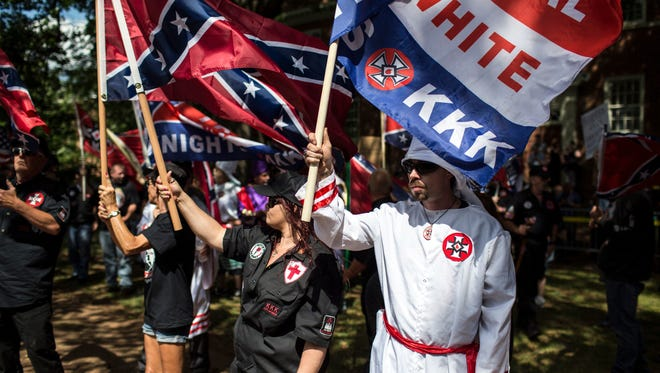The Ku Klux Klan protests on July 8, 2017 in Charlottesville, Virginia,.  the planned removal of a statue of General Robert E. Lee. The KKK tried to become a powerful presence in Central Jersey in the 1920s, but residents rebuked its efforts.