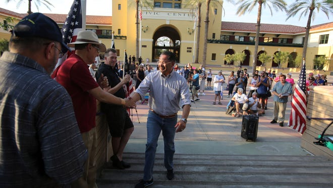 County Supervisor V. Manuel Perez greet attendees before speaking at the Democratic resistance rally to drum up grass-roots support for democratic candidates running in 2018 elections, on Monday, September, 4, 2017 at the Cathedral City Civic Center.