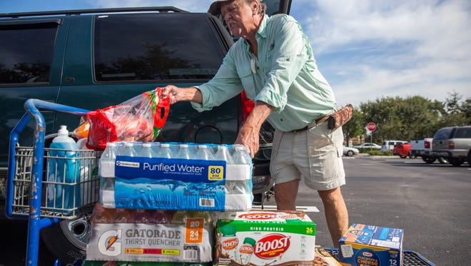 Mike Frye was able to purchase the last available case of bottled water Tuesday, Sept. 5, 2017, at the Sam's Club in North Naples in preparation for Hurricane Irma. On Monday, Florida Gov. Rick Scott issued a state of emergency for Florida.