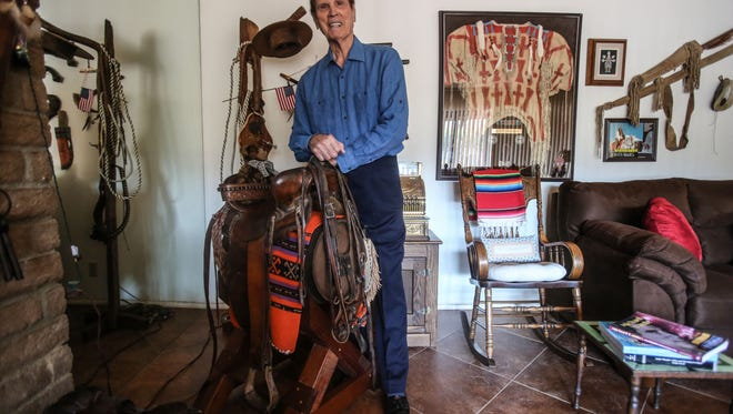 "Actor and author Michael Dante, shown at his Rancho Mirage home, is trying to get his novella, ""Winterhawk's Land,"" made into the sequel of his 1975 film, ""Winterhawk."""