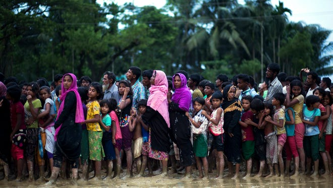 Rohingya Muslims at a refugee camp in Cox's Bazar, Bangladesh, on Sept. 19, 2017.