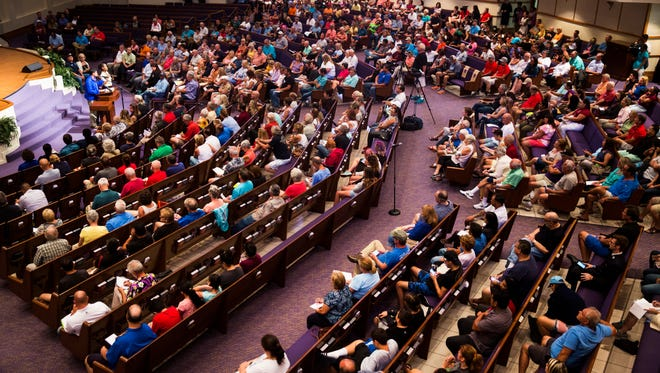 Residents fill the rows of the First Presbyterian Church during the FEMA Town Hall in Bonita Springs on Friday, Sept. 22, 2017.
