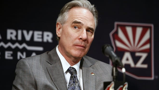 CEO Steve Patterson at new Coyotes head coach Rick Tocchet's introductory press conference at Gila River Arena in Glendale, Ariz. on July 13, 2017.