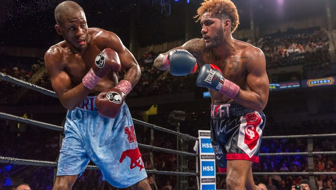 Jarrett Hurd, right, will defend his IBF junior middleweight title on Oct. 14 vs. Las Cruces' Austin Trout in New York.