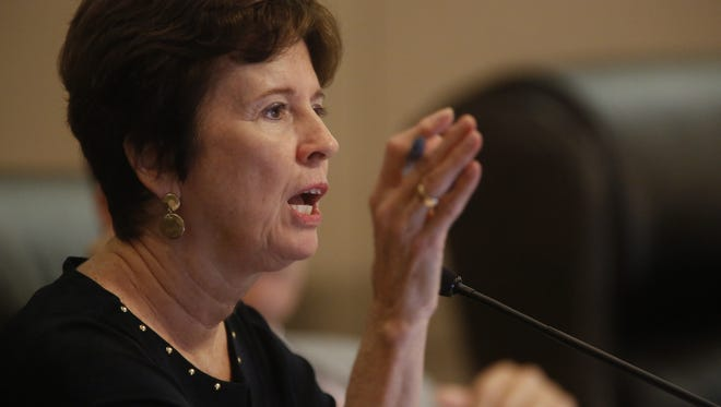 City Commissioner Nancy Miller during Wednesday's City Commission meeting at City Hall.