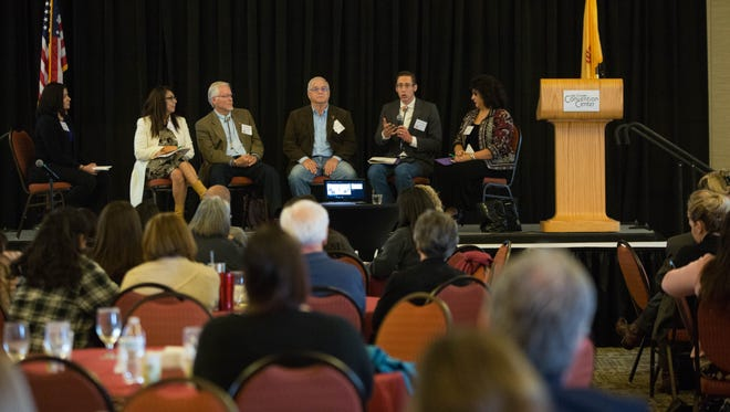 A Panel of local and state officials including Kasandra Gandara, city council, Billy Garrett, county commission, Gil Sorg, city council, Nathan Small, state representative and Doreen Gallegos, state representative participated in a conversation about different aspects of the state of education at the First Southern New Mexico Kids Count Conference at the Las Cruces Convention Center, Thursday November 9, 2017.