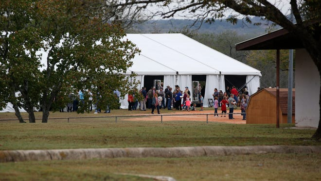 Nearly 300 people gathered in a makeshift church one week after the mass shooting in the First Baptist Church in Sutherland Springs, Texas, on Nov. 12, 2017.