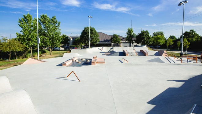 A skate park in Dublin, Ohio, designed by Spohn Ranch Skateparks. The company has been hired to design a similar facility in Everett Park in Newark.