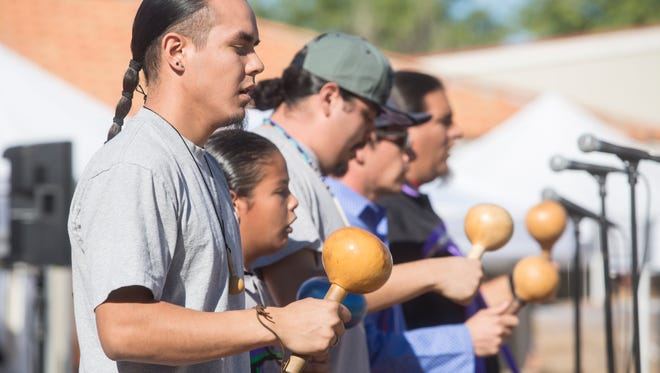 TM Bird Singers perform traditional Native American songs during the first annual Agua Caliente Band of Cahuilla Indian culture festival at Palm Springs High School.