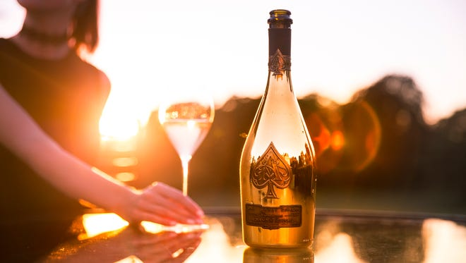 Champagne Armand de Brignac Gold Brut bottle is from Montagne de Reims in France's Champagne region.