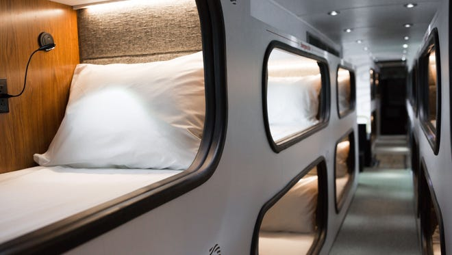 Cabin passengers each get a private sleeping pod.