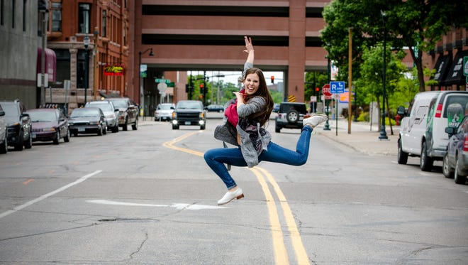 Ashley Gonzalez, 17, of Sauk Rapids, leaps into the air wearing her tap shoes in this photo taken for her senior portraits. She will graduate from St. Cloud Christian School in the spring.