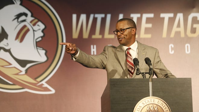 New Florida State Head Football Coach Willie Taggart during a press conference at the Champion's Club Wednesday, Dec 6.