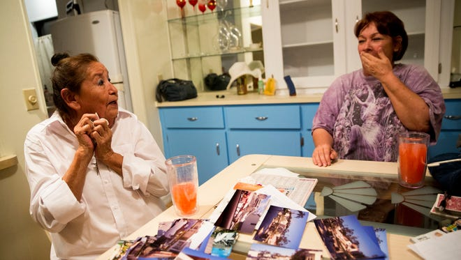 """B.B. Cramer, left, shares stories with her close friend Candy while recalling the days and weeks after Hurricane Irma ripped through Southwest Florida. Cramer's home in Naples Estates, a mobile home community off Rattlesnake Hammock Road, was reduced to rubble. """"At the time I saw my house I had to be strong,"""" Cramer said. """"This storm brought me to my knees."""" She was devastated and left with nowhere to go. However, with help from good friends in the park and a bit of good timing she was able to purchase another home only blocks away from her original home. """"I had to think what's next. That's what kept me going,"""" she said. """"I don't sweat the small stuff anymore."""""""