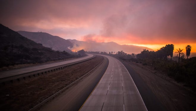 The 101 Highway after the Thomas Fire jumped the road towards the Pacific Coast Highway in Ventura, California, December 7, 2017.