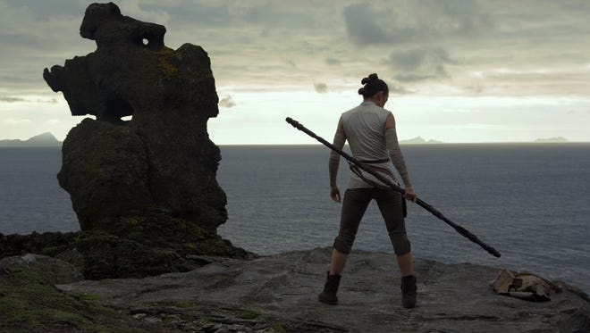 """Rey (Daisy Ridley) faces her future in """"Star Wars: The Last Jedi."""""""