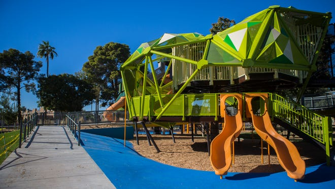 An all-new playground has been installed in Mesa's Pioneer Park, pictured on Dec. 10, 2017. Pioneer Park has been under construction since May.