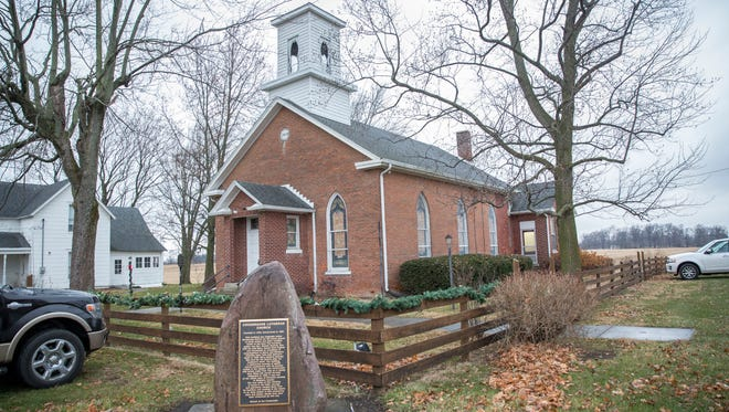 The historic Church at Crossroads is at the intersection of Delaware County roads 600-W and 700-S.