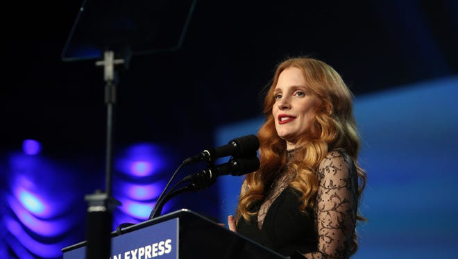 """Jessica Chastain is presented the Chairman's Award for """"Molly's Game"""" at the 29th Annual Palm Springs International Film Festival Gala on Tuesday, January 2, 2018 in Palm Springs, CA"""